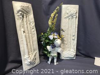 T wall plaques & Cupid vase