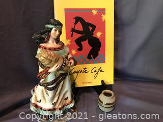 Southwest , Native American figurine, Coyote Cafe Cookbook , handmade pottery