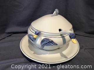 Amazing Italian ceramic hand painted Duck Tureen, Duckhead Ladle and underplate