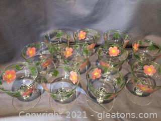 10 Hand painted sherbert glasses and 1 to spare