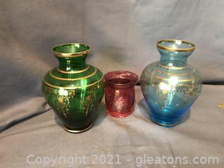 Vintage colored glass vases trimmed in gold