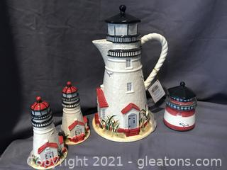 Lighthouse Pitcher salt and pepper shakers and jelly jar