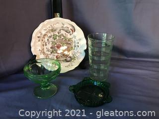 """3 piece Green depression glass and Royal Doulton  Hampshire 6 1/2"""" plate"""