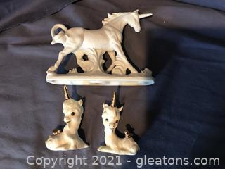 Bisque white porcelain mystical unicorn figurine, 2 vintage unicorn babies