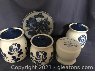 Clinch mountain Pottery canisters