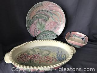 Unusual handmade pottery platter tray, bowl and designer plate