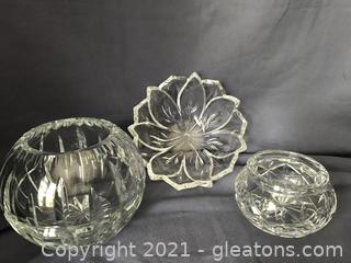 Waterford bowl, heavy crystal rose bowls