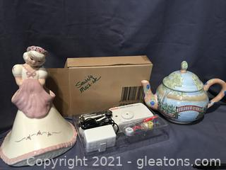 Vase, tea pot and electric singer portable sewing machine