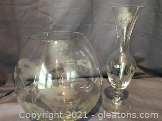 Princess House Vases, crystal cut and etched