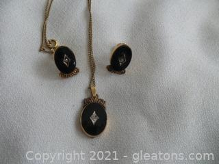 3 Piece Vintage set 12kt.gf. screw on earrings with Matching Pendant