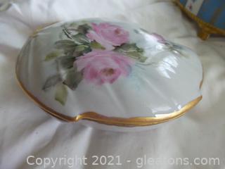 Vintage handpainted roses porcelain leaf shape box