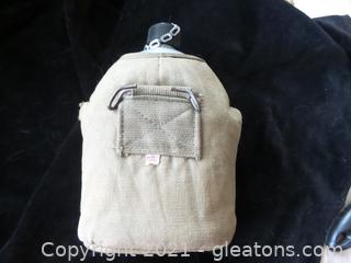 VINTAGE ARMY CANTEEN WITH CUP