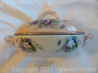 Antique Porcelain oval Candy Dish with Lid by Hal Sey Fifth