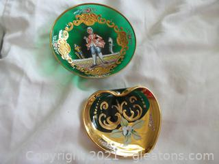 Two Green handpainted glass Moser pin dishes