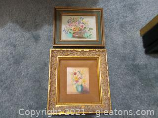 Two Small Oil paintings on Wood framed signed