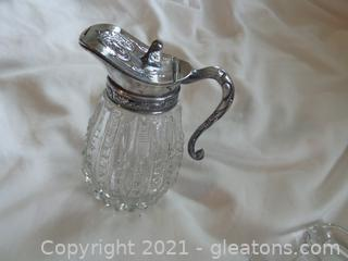 Antique Glass zipper pattern syrup  bottle  silver plate  hinged lid