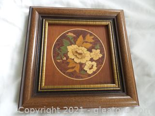 Marquetry Wood Art Framed floral Bouquet