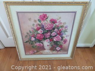 BEAUTIFUL HOME INTERIOR PINK ROSE PRINT FRAMED UNDER GLASS