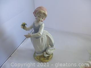 PORCELAIN GIRL WITH GEESE AND ROSE MADE IN SPAIN