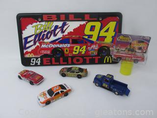 Bill Elliott #94 License Plate, Four Cars, One Pick Up