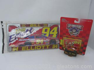 Bill Elliott #94 License Plate & 50th Anniversary of Nascar Racing Champions Car