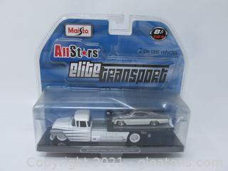"Maisto Allstars Elite Transport Die Cast 1957 Chevrolet Flatbed with 1965 Chevrolet Impala ""SS"""