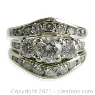 Beautiful 3 Diamond Rings Wedding Set in 14kt White Gold