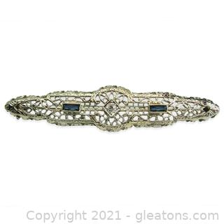Gorgeous Vintage Diamond Brooch in 14kt White Gold