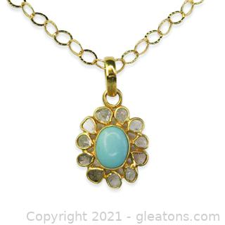 Very Pretty Turquoise and Diamond Necklace 14kt Over Sterling Silver