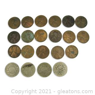 5 Cent Shield and Wheat Penny Lot