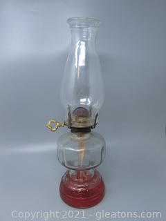 Pressed Glass Oil Lamp