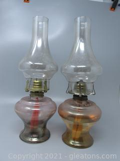 Pair of Tinted Oil Lamps