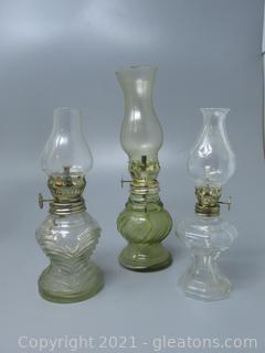 Miniature Press Glass Oil Lamps