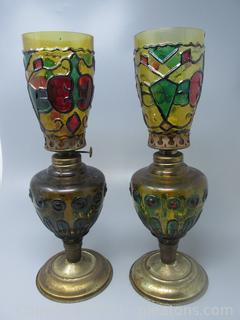 Painted Stain Glass Look On This Pair of Oil Lamps