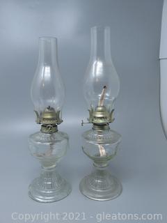 2 Bird Design Oil Lamp Pair- Pressed Glass