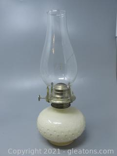 """The Look of Milk Glass on This 11"""" Oil Lamp"""