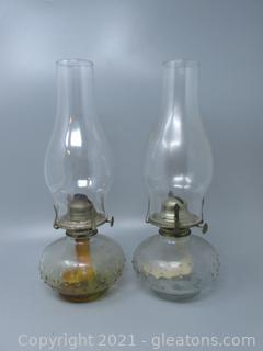 """Pair of Hobnail Oil Lamps 12"""" Tall"""