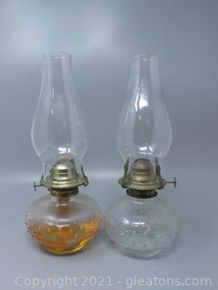 Two Hobnail Oil Lamps