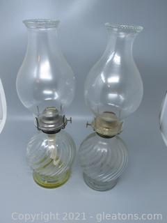 Swivel Bottoms on This Pair of Oil Lamps