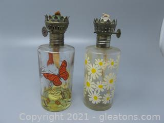 Flowers and Butterfly's On These Antique Oil Lamps