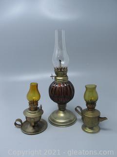 Metal Bottom Oil Lamps