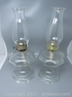 """Pair of Stylish Vintage Oil Lamps 18"""""""