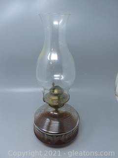 Decorative Pressed Glass Oil Lamp Stylish Chimney