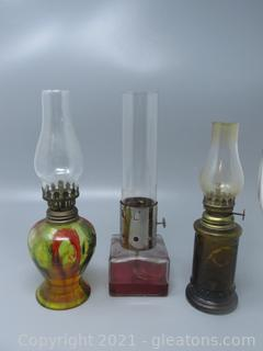 Classic Group of 3 Oil Lamps with Glass Chimneys