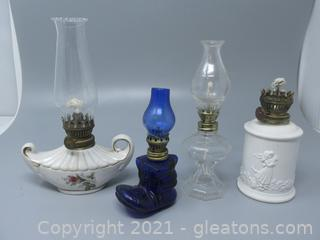 Decorative Lot (4) of Oil Lamps