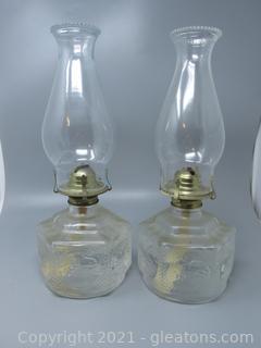Farm House Scene Oil Lamps
