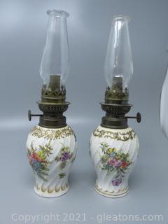 Antique Decorative Pair of Porcelain Oil Lamps