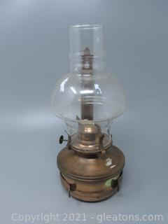 Copper Wall Mount Oil Lamp with Bulge Chimney