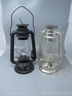 Two Railroad Oil Lanterns