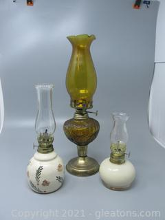 Three Charming Oil Lamps